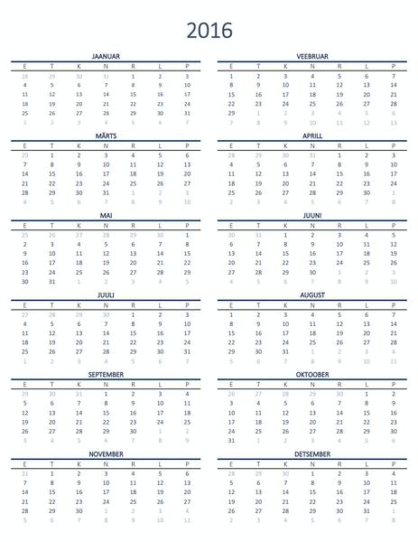 Ühe aasta kalender