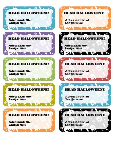 Halloweeni sildid (10 tk lehel)