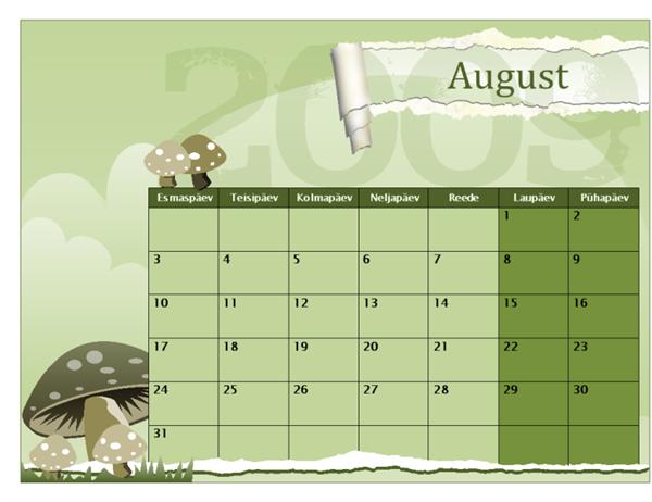 Kooliaasta kalender 2009-2010 (augustist augustini, E–P)