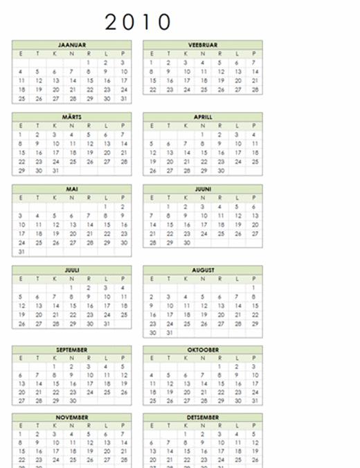 Kalender 2010 (1 lk, vertikaalpaigutus, E–P)