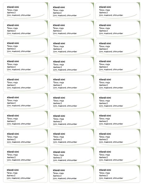 Aadressisildid (kujundus Roheline laine, 30 tk lehel)