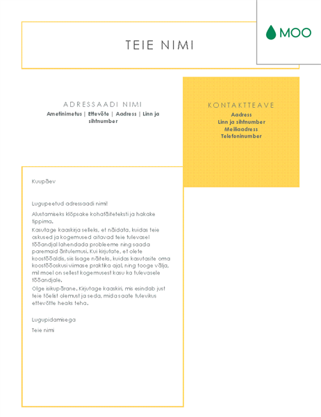 MOO kujundatud karge ja tagasihoidliku kujundusega kaaskiri