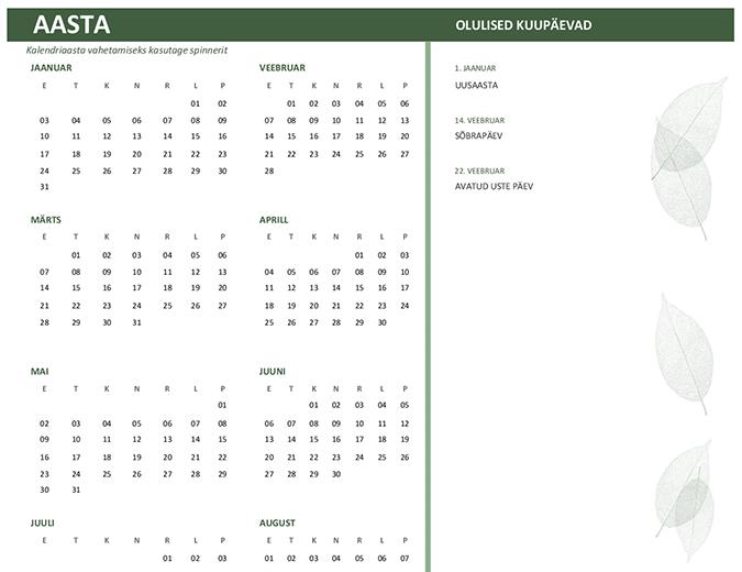 Ettevõttekalender (mis tahes aasta, P–L)