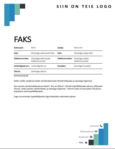 Siniste astmetega kujundusega faksi tiitelleht