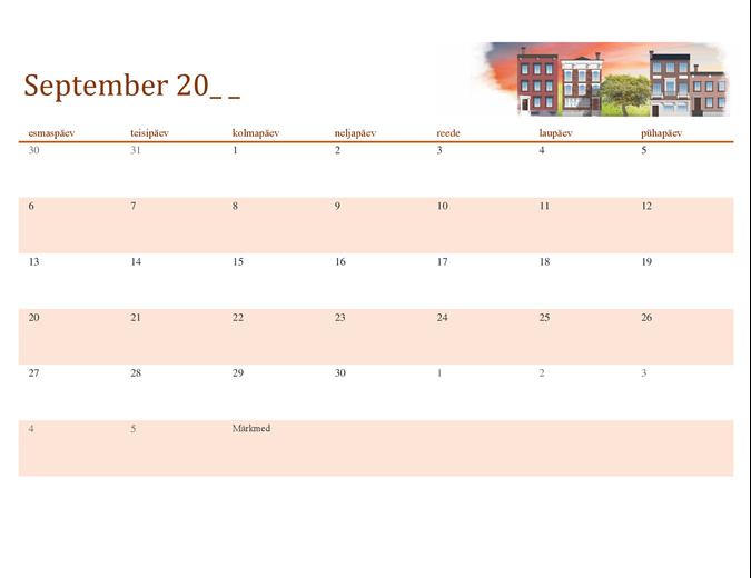 Aastaaegu kujutav kalender, mis sobib igale aastale