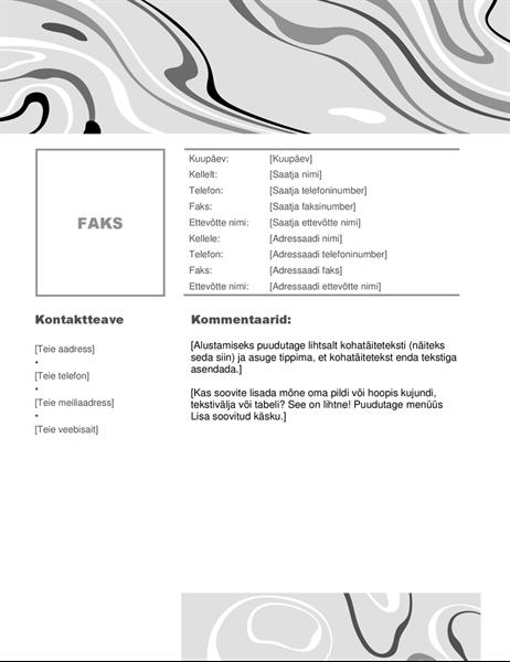 Mustvalgete pööristega faksi tiitelleht