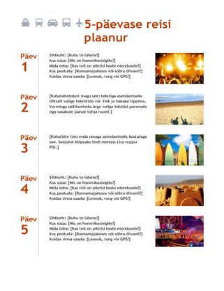 5-päevase reisi plaanur
