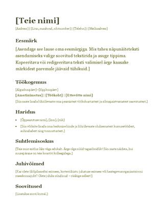 Elulookirjeldus (roheline)