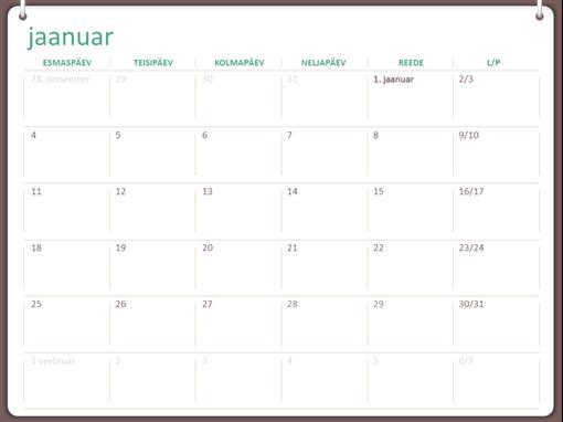 2018. aasta kalender (E–P, kahe rõngaga kujundus)