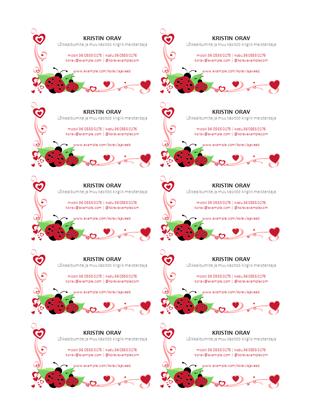 Visiitkaardid (lepatriinud ja südamed, teksti keskjoondus, 10 kaarti lehel)
