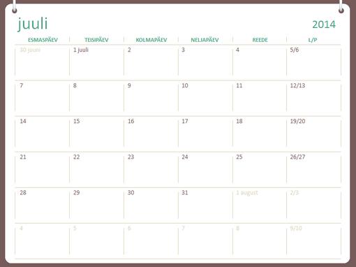 Kooliaasta kalender 2014–2015 (juulist juunini)