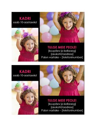 Sünnipäevapeo kutse postkaart