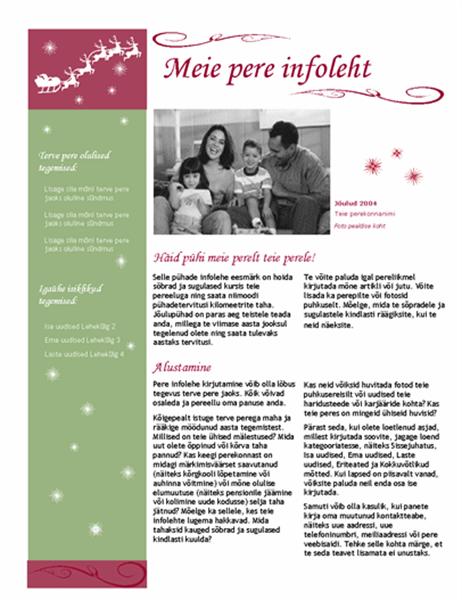 Pühade infoleht (jõuluvana saani ja põdraga)