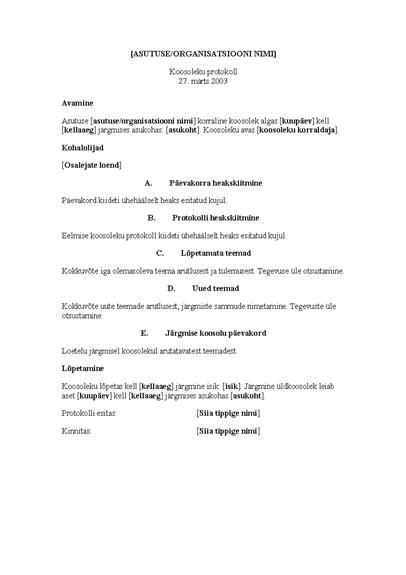 Asutuse koosoleku protokoll (pikk versioon)