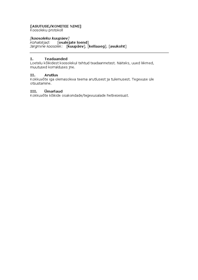 Asutuse koosoleku protokoll (lühike versioon)