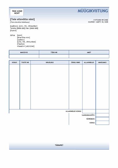 Müügikviitung (sinine astmikkujundus)