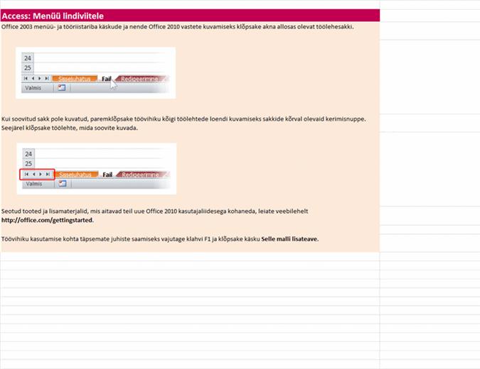Access 2010: menüükäskude asukohad lindil – töövihik teatmematerjalidega
