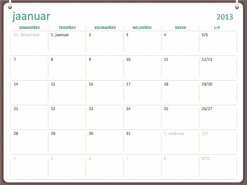 2013. aasta kalendri kahe rõngaga kujundus (E–P)