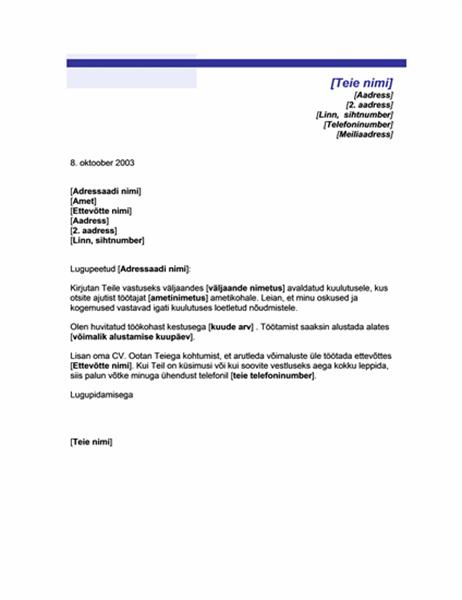 Ajutise ametikoha kaaskiri (sinise joonega kujundus)