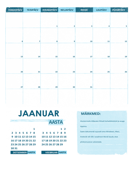 Academic calendar (one month, any year, Monday start)