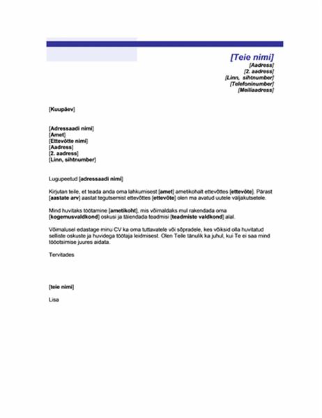 Tööotsimiskiri (sinise joonega kujundus)