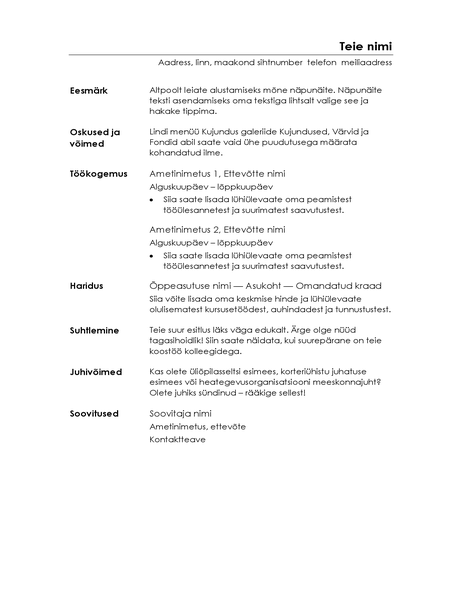 Funktsionaalne CV (minimalistlik kujundus)