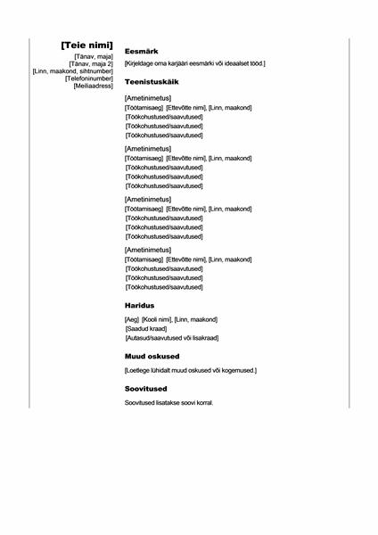 Kronoloogiline CV (vertikaalne kujundus)