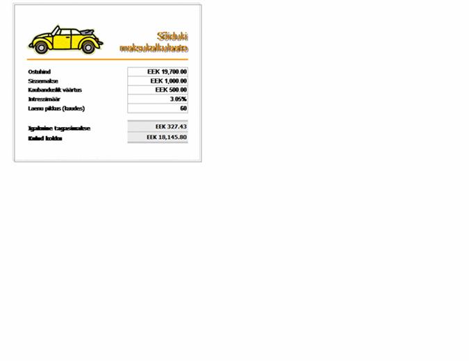 Sõiduki laenu maksukalkulaator