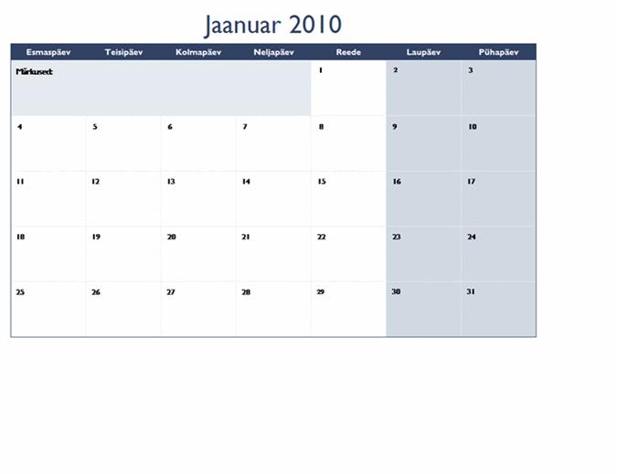 Kalender 2010 mitmel töölehel (12 lk, E–P)