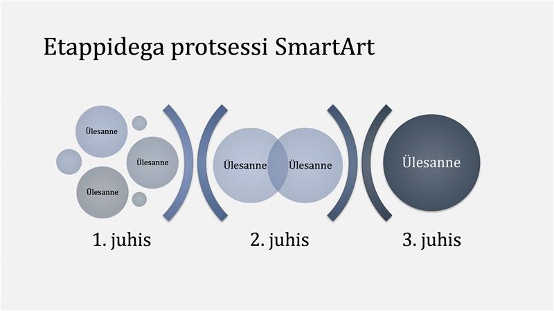 Etappidega protsessi kujutav SmartArt-pilt (hele-/tumesinine), laiekraan
