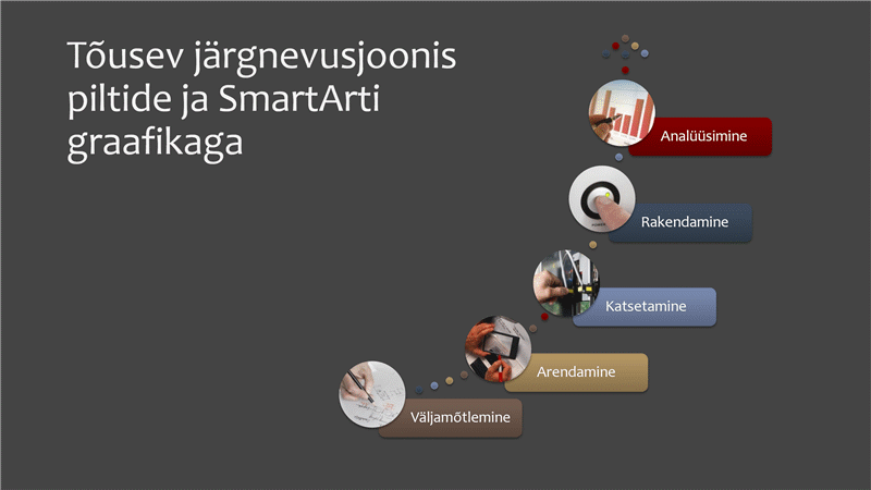 SmartArti tõusev piltidega järgnevusjoonis (mitmevärviline hallil taustal), laiekraan