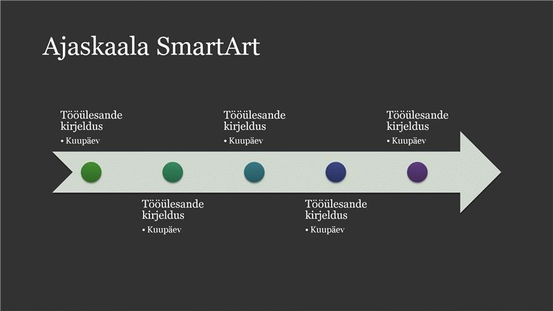 Lihtne ajaskaalaga SmartArt-pilt (valge tumehallil taustal), laiekraan