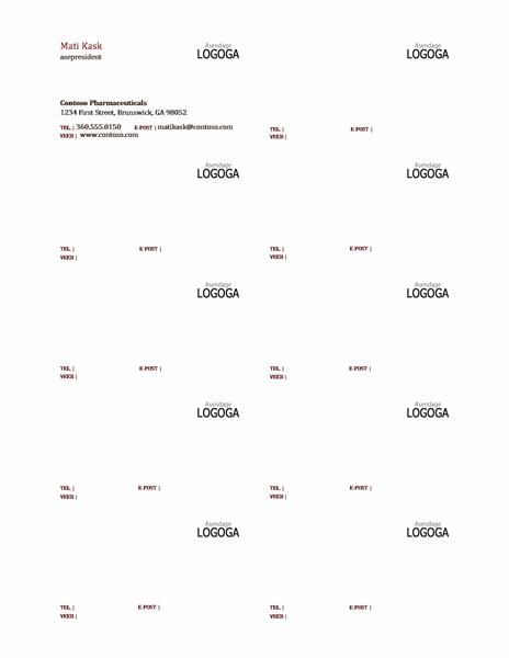 Horisontaalsed logoga visiitkaardid, millel on vasakjoondatud tekst
