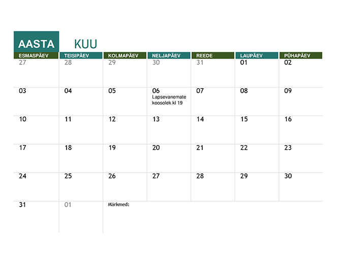 Kooliaasta kalender (mis tahes aasta)