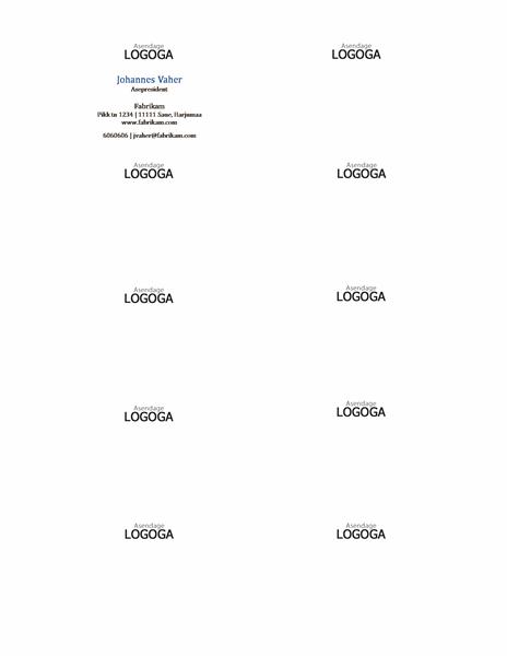 Horisontaalse paigutuse ja logoga visiitkaardid, nimi esisuurtähtedega