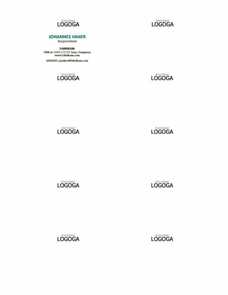 Horisontaalse paigutuse ja logoga visiitkaardid, nimi läbivate suurtähtedega
