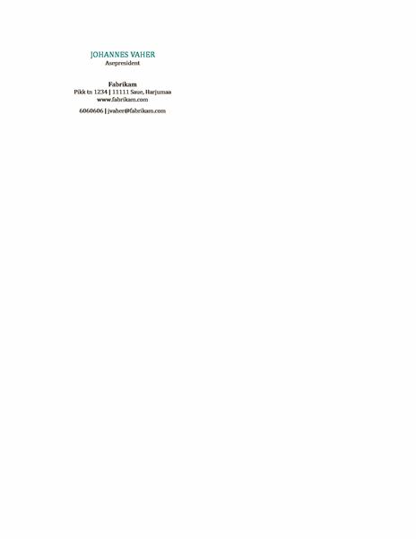 Horisontaalse paigutusega visiitkaardid ilma logota, nimi läbivate suurtähtedega
