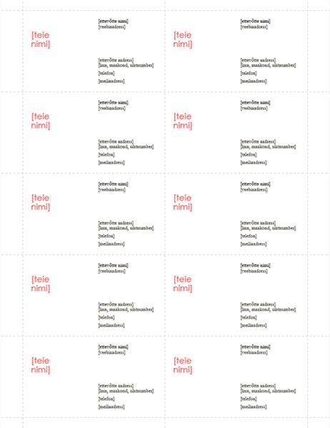 Visiitkaardid (kujundus Punane, 10 tk lehel)