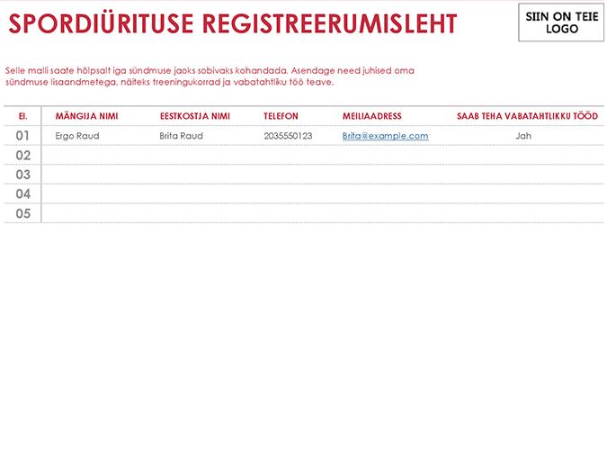 Spordivõistluse registreerumisleht