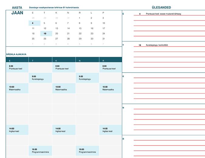 Kooliaasta kalender (E)