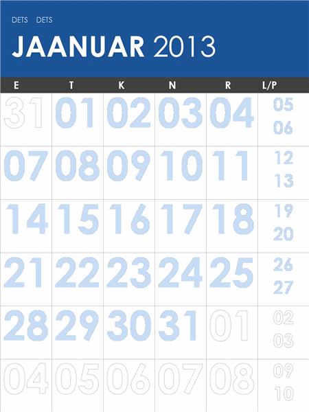 2013–2014 kalender, mitmevärviline (E–P)