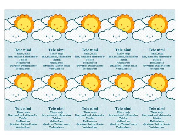 Isiklikud visiitkaardid (kümme kaarti ühel lehel)