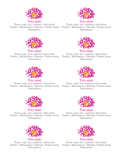 Lillekujundusega isiklik visiitkaart