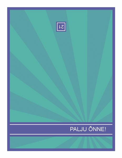 Verstapostsünnipäeva kaart, sinised kiired rohelisel taustal
