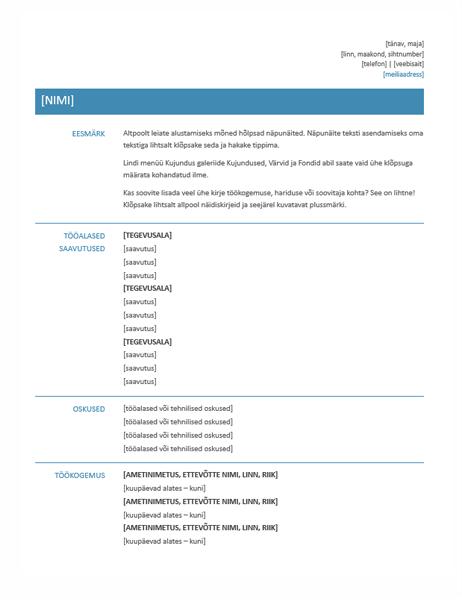 Funktsionaalne elulookirjeldus (lihtkujundus)