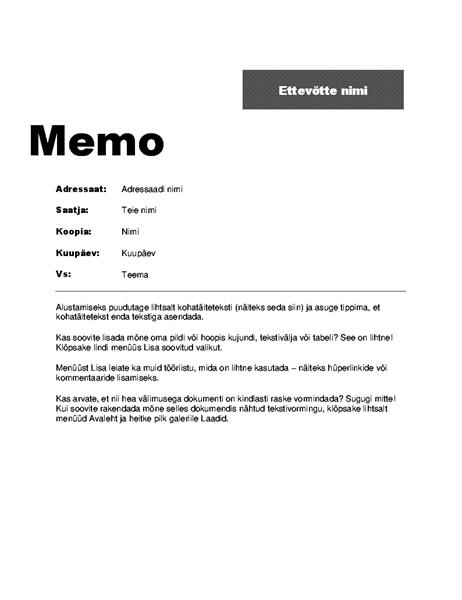 Ettevõttesisene memo (kujundus Professionaalne)