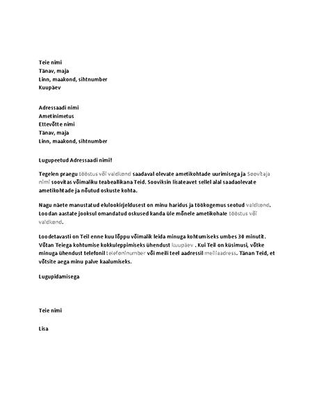 Teabeintervjuud taotlev kiri