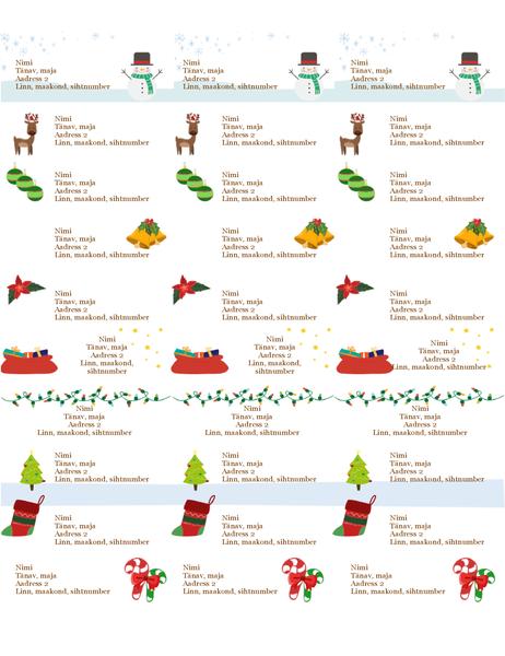 Kingipakkide sildid (jõulukujundus, 30 silti lehel, sobib paber Avery 5160)