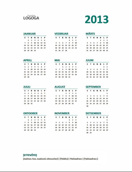 2013. aasta ülevaatlik kalender (nädal algab esmaspäevast)