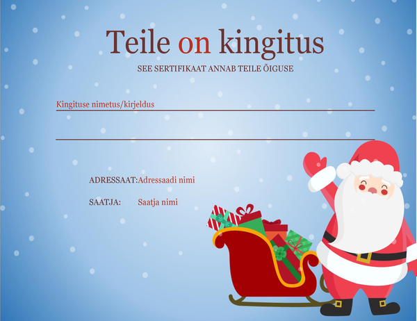 Jõuluteemaline kinkekaart (jõulukujundus)